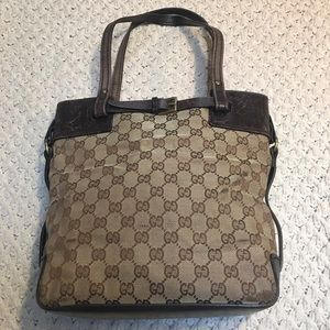 Auth GUCCI Tote bag in Monogram Canvas/Leather GUC